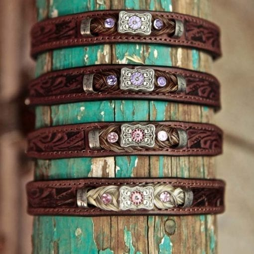 Western bracelet in rose and lilac bling over wooden post